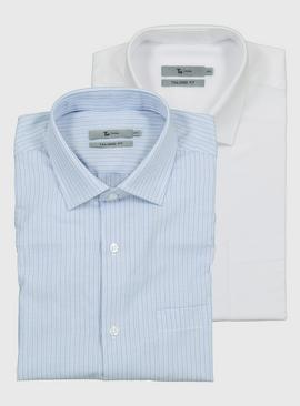 Multicoloured Stripe & White Easy Iron Tailored Fit Shirt 2