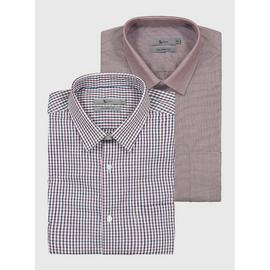 Red Gingham Tailored Fit Easy Iron Shirt 2 Pack