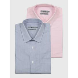 Pink & Blue Stripe Tailored Fit Easy Iron Shirt 2 Pack