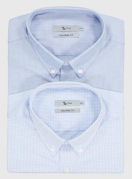 Blue Window Pane & Blue Plain Easy Iron Tailored Fit Shirt 2