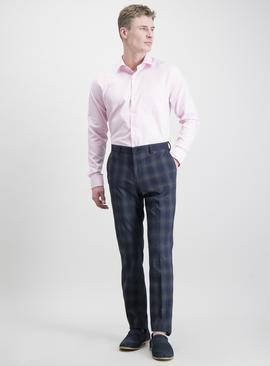 Pink Herringbone Tailored Fit Pure Cotton Shirt