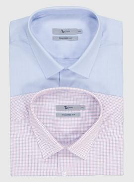 Blue & Pink Check Regular Fit Shirts 2 Pack