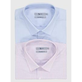 Blue & Pink Check Tailored Fit Shirts 2 Pack