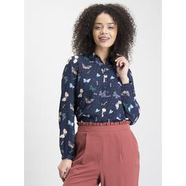 Navy Butterfly Print Shirt