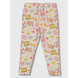 White Novelty Cat Print Leggings