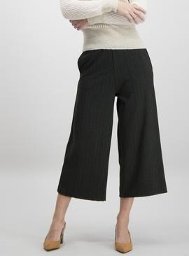 Dark Green Herringbone Stripe Wide Leg Trousers