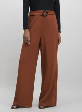 Burnt Orange Wide Leg Belted Trousers