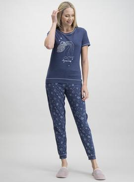 Online Exclusive Navy Aquarius Star Sign Pyjamas
