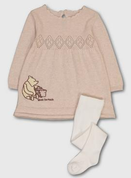 Disney Winnie The Pooh Oatmeal Knitted Dress & Tights
