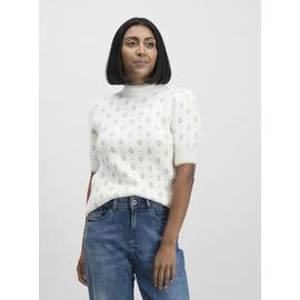 Cream Jacquard Knitted Short Sleeve Jumper