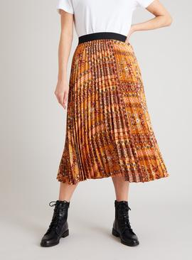 Gold Patchwork Print Pleated Midi Skirt