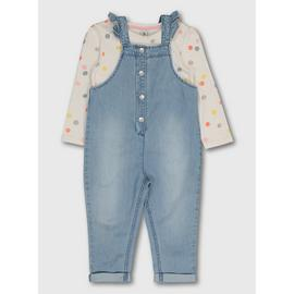 Denim Dungarees & Scribble Spotted Top