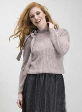 Lilac Tie Neck Knitted Jumper