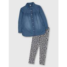 Blue Denim Shirt & Animal Print Leggings