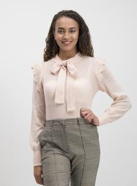 Pink Ruffle Shoulder Tie Neck Jumper