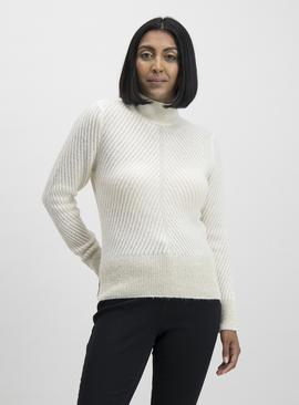 Cream Sparkle Turtleneck Jumper