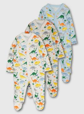 Multicoloured Dinosaur Print Sleepsuit 3 Pack