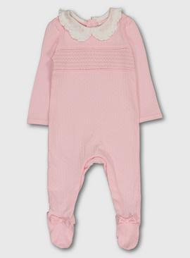 Pink Smocking Pointelle Sleepsuit