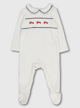 White Car Motif Smocking Sleepsuit