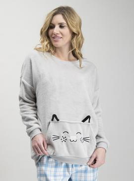 Grey Fleece Cat Pyjama Top