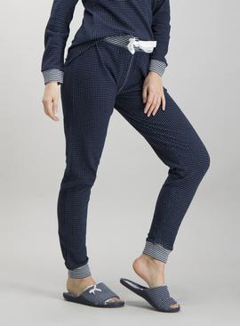 Navy Striped & Spotted Pyjama Bottoms