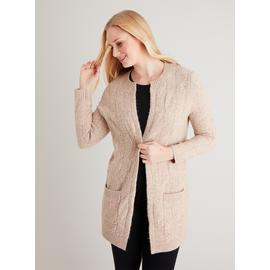 Tan Cosy Cable Knit Longline Cardigan