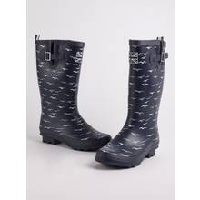 Navy Seagull Print Wellies