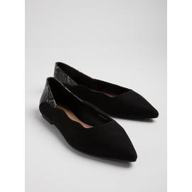 Black Faux Snakeskin Pointed Shoe