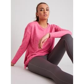Active Pink Space Dye Long Sleeve Knot Top