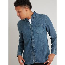Acid Wash Regular Fit Long Sleeve Denim Shirt