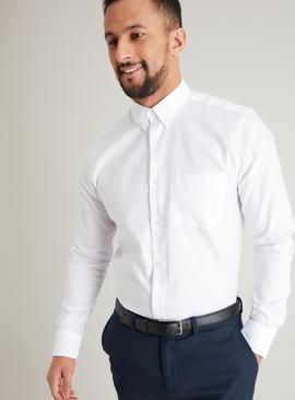 White Pure Cotton Button-Down Tailored Fit Shirt
