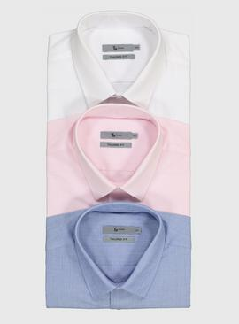 Multicoloured Long Sleeve Easy Iron Tailored Fit Shirts 3 Pa