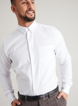 White Button-Down Collar Easy Iron Shirts 2 Pack