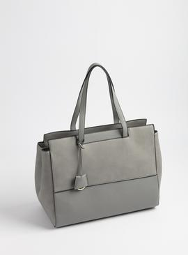 Grey Faux Leather Handbag - One Size