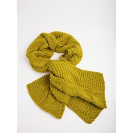 Green Cable Knit Scarf - One Size