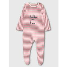 Red Stripe Slogan Sleepsuit