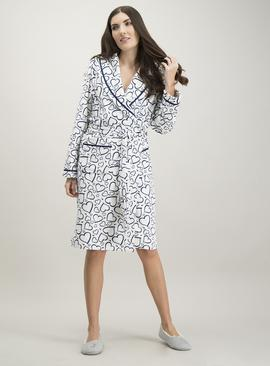 White & Navy Heart Print Dressing Gown