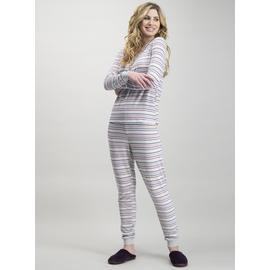 Grey Stripe Soft Knit Henley Pyjamas