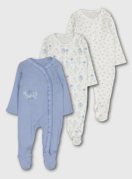 Blue & White Floral Sleepsuits 3 Pack