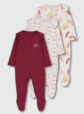 Cream & Burgundy Rainbow Sleepsuit 3 Pack