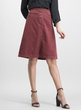 Dark Pink Corduroy Skirt