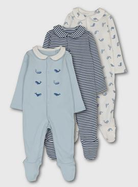 Blue & White Whale Print Sleepsuit 3 Pack