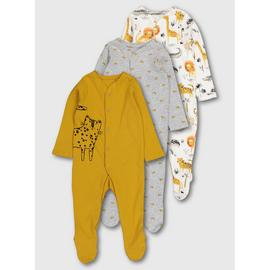 Mustard Safari Print Sleepsuits 3 Pack