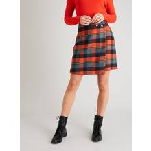 Navy & Coral Check Mini Skirt
