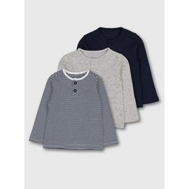 Navy, Grey & Striped Long Sleeve Top 3 Pack