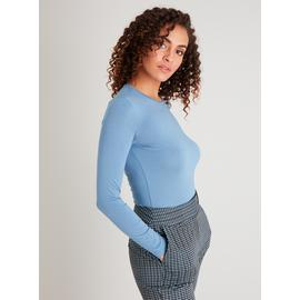 Blue Plain Luxe Long Sleeve Top