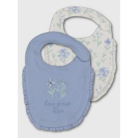 Blue & White Floral Print Milk Bib 2 Pack - One Size