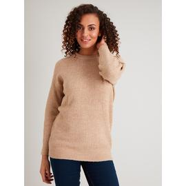 Oatmeal Knitted Longline Crew Neck Jumper