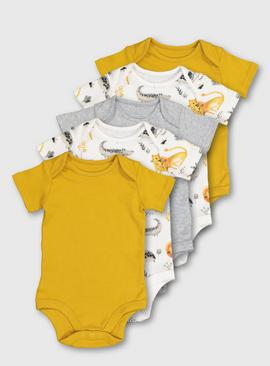 Ochre Yellow Assorted Safari Print Bodysuit 5 Pack