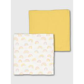 Cream & Mustard Rainbow Muslin Squares 2 Pack - One Size